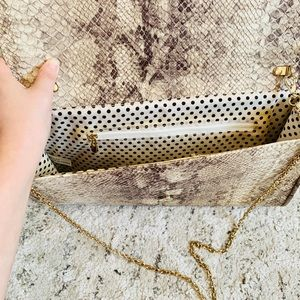 Bags - Snake print clutch with gold chain for crossbody